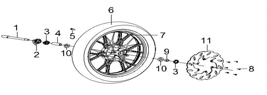 KSR MOTO TR 125 SM EU4 Első kerék