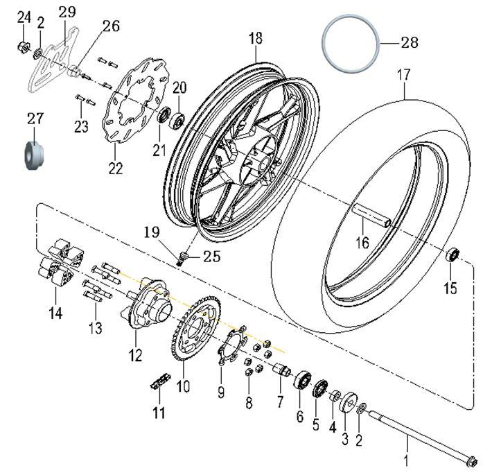 KSR MOTO GRS 125 EU4 Hátsó kerék