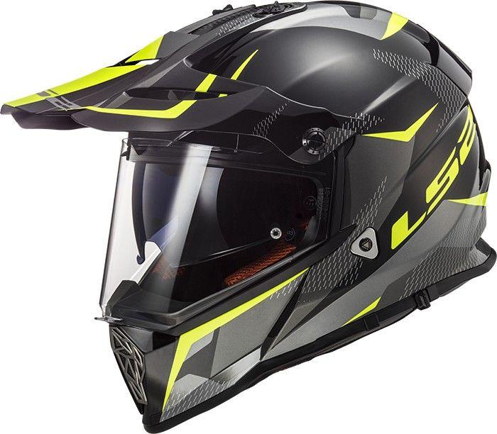 LS2 MX436 PIONEER RING BLACK TITANIUM HI VIS zárt motocross sisak